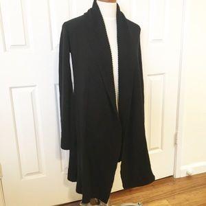 CAbi long black cardigan. Open front. EUC. XS.